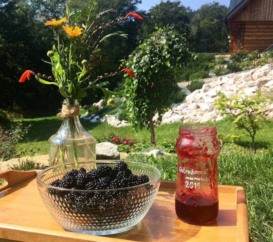 Černé ostružiny ve skleněné míse, rudá marmeláda ve skleniny, květiny, vše položené na dřevěném tácu na zahradě.