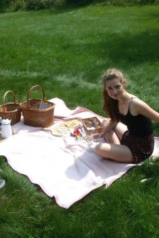 Piknik na louce, růžová deka, pes, zlatý retrívr,proutěné koše, jídlo.